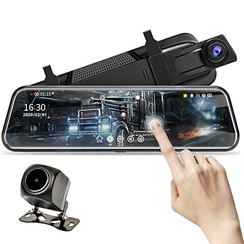 Kilcvt Grabadora De Conducción, 10'Mirror Dash CAM, Pantalla Táctil Completa con Grabación En Bucle, HD 1080P / 170° Visión Nocturna De Gran Angular/Cámara De Visión Trasera