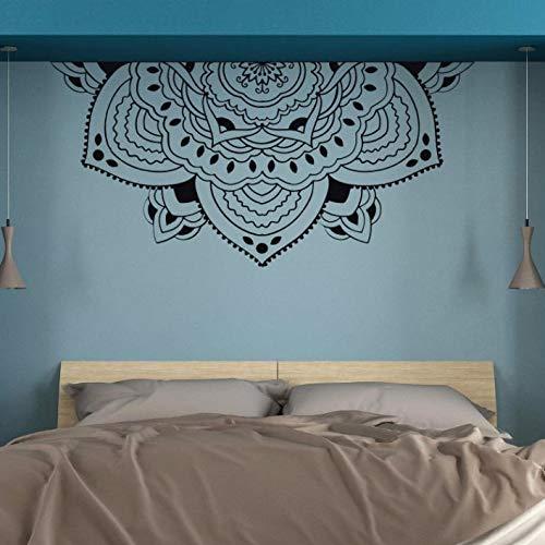 Meditación media mandala pared arte mural calcomanía de pared media mandala flor etiqueta de pared decoración dormitorio A5 117 x 57 cm