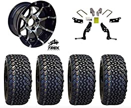 "12"" Banshee Machined/Black Wheels mounted on 23"" All Terrain Tires (Set of 4) and Jake`s 6"" Club Car DS Spindle Lift Kit - (1981-2003.5 Electric / 1996-2003.5 Gas)"