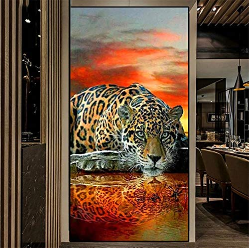 5D DIY Diamond Painting Full Drill Kits by Numbers, Leopard Tiger Diamond Art Painting for Adults/Kids Embroidery Pictures Cross Stitch Canvas Crafts, for Home Wall Decor Square Drill,100x200cm