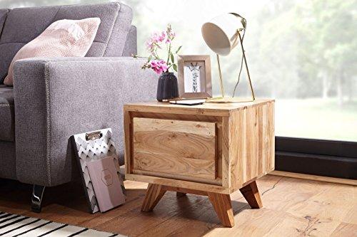 Wohnling Tico nachtkastje, massief hout, acacia, 45 x 44 x 45 cm