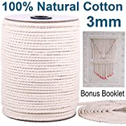 XKDOUS Macrame Cord 3mm x 220Yards, Natural Cotton Macrame Rope, 3 Strand Twisted Cotton Cord for Wall Hanging, Plant Hangers, Crafts, Knitting, Decorative Projects, Soft Undyed Cotton Rope