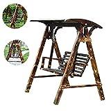 Coperture per dondoli Altalena Outdoor poltrona pensile sedia di svago delle famiglie in legno massello Swing Swing giardino del patio di svago sedia a dondolo ( Color : Brown , Size : 120*140*160cm )