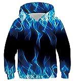 Fanient Réaliste 3D Imprimer Cool Bleu Fumée À Capuche Pull Sweat Garçons Filles Sweats À Capuche Pulls 12-13Y