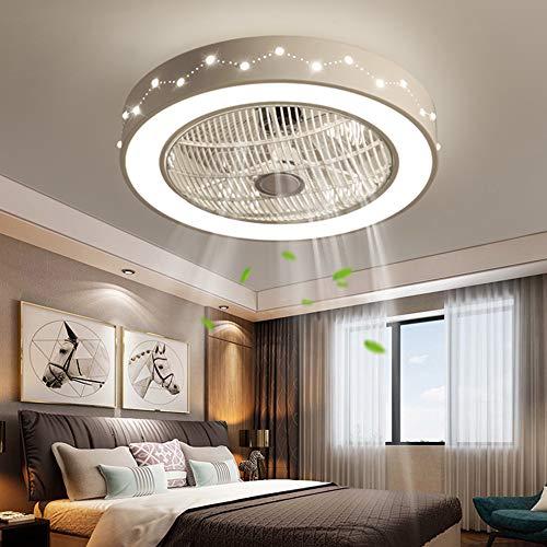 Ventilador de techo con mando a distancia, 55 cm, luz LED para habitación, dormitorio, oficina, 220 V