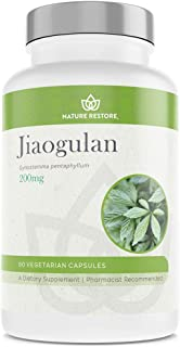 Jiaogulan Extract Supplement, Natural AMPK Activator, Our Gynostemma Pentaphyllum is Standardized to 98 Percent Gypenosides, Non GMO, Gluten Free, 90 Gynostemma Capsules, Vegan