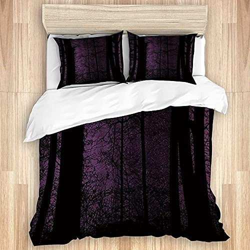 ATZTD Juego de ropa de cama, funda de edredón, diseño de paisaje de maravillas de la noche estrellada del bosque oscuro, microfibra 200 x 200 con 2 fundas de almohada de 80 x 50, doble