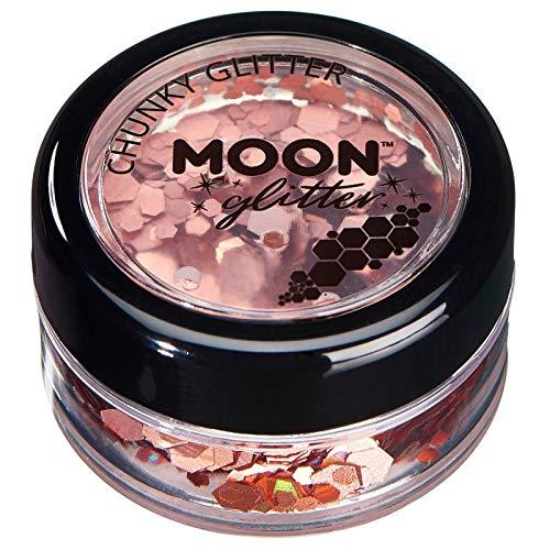 Paillettes holographiques rondes par Moon Glitter (Paillette Lune) – 100% de paillettes cosmétique pour le visage, le corps, les ongles, les cheveux et les lèvres - 3g - Or Rose