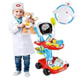 Doctor Cart Kit for Kids with Stethoscope Doctor CoatLight X-Ray Double-Decker Trolley Dress Up Doctor Costume Playset Toys Pretend Medical Play Doctor Kits for Toddlers Boy Girl Age 3 4 5 Years Old