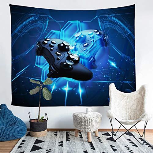 Loussiesd Tapiz moderno Gamepad para colgar en la pared para niños, adultos y niños, mando de juego, manta de pared, diseño geométrico, color azul, 132 x 192 cm