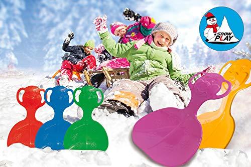 Jamara 460373-Snow Play Schneeflitzer Orso Struttura in plastica resistente e flessibile, Impugnatura per una presa facile, Peso leggero Slittino, Colore Blu, 460373