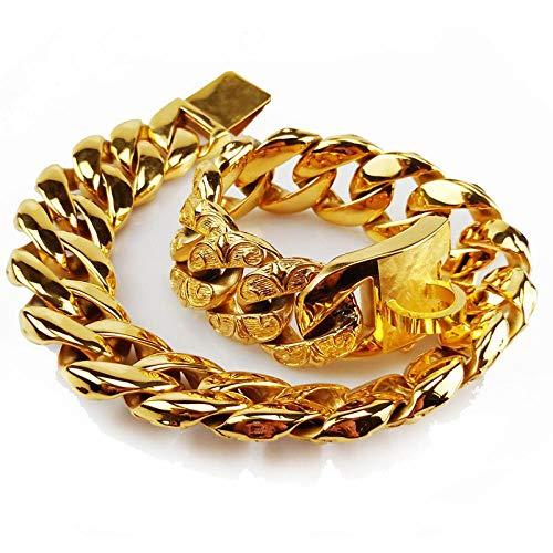 Patrón de Flores Collar de Perro de Acero Inoxidable de Lujo Entrenamiento para Mascotas Cadenas de Cuello de Oro Metal Pitbull Bulldog Collares Aduanas-Oro Rosa de 32mm_XS 32mmx35cm