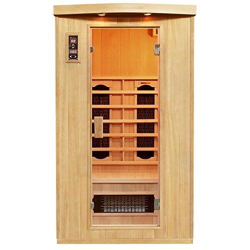 Artsauna Infrarotkabine Halmstad mit Dual Heizsystem | 2 Personen Kabine aus Hemlock Holz | 110 x 100 cm | Infrarotsauna Infrarot Wärmekabine