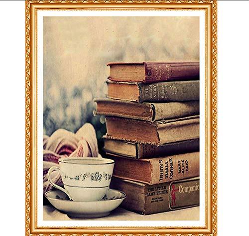 JHLP Diamant Schilderen Oude Boeken Beker van Thee Diamant Borduurwerk Relax Lezen Tijd Craft Decoratie voor Studie Kamer 40x30cm