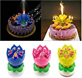 Rotating Lotus Cạndlê Birthday Cake Flower Musical Music Cạndlê Whit Music Magic, Birthday Cạndlê, Musical Birthday Cạndlê Rotating Lotus Cạndlê, Birthday Cake Candles Decorations (3Pcs)