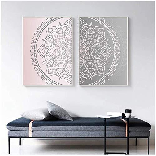 Mxibun Moderno Gradiente Rosa Gris Mandala Cartel De Lienzo Abstracto Boho Pared Arte Impresión Pintura Cuadro Decorativo-20X28Inx2 Sin Marco