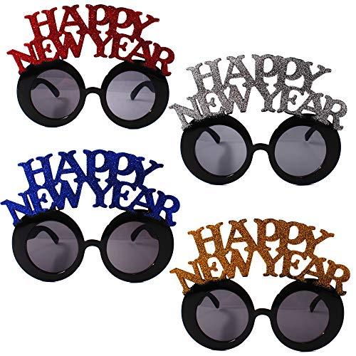 Carnavalife Gafas Happy New Year con Purpurina Disfraces Gafas Celebración Favor de Fiesta para 2020 Decoraciones de Fiesta de Nochevieja Accesorios de Fotografía Pack de 12 Piezas (3*Cada Color))