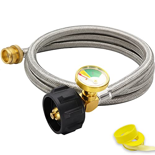Foinwer 6 FT Propane Hose Adapter 1lb to 20lb with Guage,Stainless Braided Propane Hose Adapter 1lb Portable Appliance to 20lb or 5-40lb QCC1/Type1 Tank, for Portable Heater,Camping Stove, Gas Grill