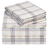Pinzon 160 Gram Plaid Flannel Cotton Bed Sheet Set, King, Cream / Blue Stripe Plaid