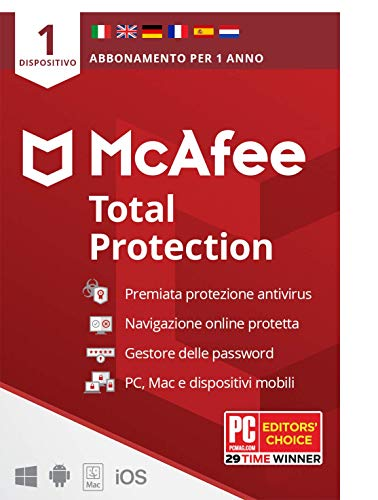McAfee Total Protection 2020, 1 Dispositivo, 1 Anno, Software Antivirus, Sicurezza Internet, Compatibile con PC/Mac/Android/iOS, Edizione Europea, Codice di attivazione via posta