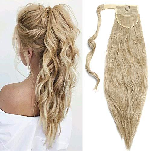 Clip in Zopf Extensions Ponytail Haarteil wie Echthaar Corn Wave Pferdeschwanz Günstig Haarverlängerung 20