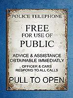 ビンテージスタイルの警察の電話ボックスTardis Drの壁のドアのサイン