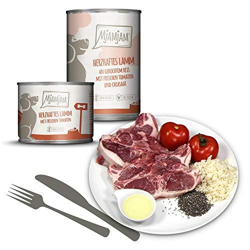 MjAMjAM - Premium Nassfutter für Hunde - herzhaftes Lamm an gekochtem Reis mit frischen Tomaten, 6er Pack (6 x 400 g), naturbelassen mit extra viel Fleisch