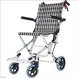 MODYL Silla De Ruedas Plegable Portátil Discapacitados Trolley, Carretilla De Aluminio De Viajes Ancianos