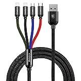 Baseus ライトニングケーブル Micro usb ケーブル Type c ケーブル 4in1 ケーブル 3.5A急速充電 対応 iOS - Lightning iPhone 充電 高速データ転送 と Android 充電 多機種対応 1.2m (1 x マルチカラー 4in1 + ブラック収納袋)