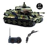 YouCute Mini RC Réservoir avec câble de Chargeur USB Télécommande Panzer Tank 1:72 Tigre Allemand avec Son, Tourelle rotative et Manuel français 27MHz(Vert)