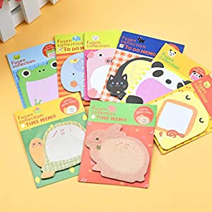 Bloc de Notas Adhesivas Linda 8pcs Sticky Notes Removibles Creativas Colores Bonitas Mini Sticky Notes Animal para…