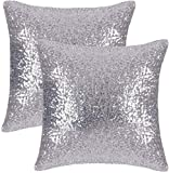 Hello Tomorrow Set of 2 Silver Pillow Covers Sparkling Sequins Pillow Covers Mermaid Sequin Throw Pillow Covers Cushion Covers Pillowcases for Party with Hidden Zipper (16x16 inch, Silver)