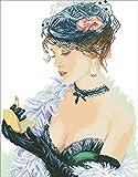 PJX Mujer con pintalabios cruz sexy paquete de belleza femenina 18 ct 14 ct 11 ct hilo de algodón bordado tela DIY Craft aguja set de seda hilo de 18 ct sin impresión lienzo
