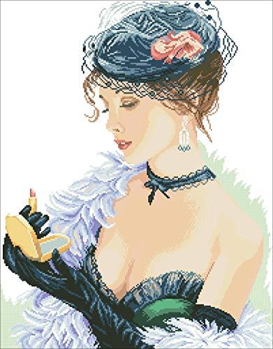 PJX Vrouw met lippenstift kruis sexy beauty-pakket vrouw 18 karaat 14 karaat 11 karaat katoenen garen stof borduurwerk DIY ambachtelijke naald set katoen draad 11 karaat onbedrukt canvas