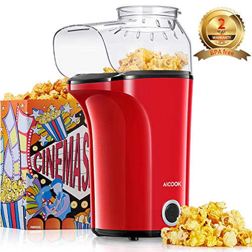 Machine à Pop Corn, AICOOK 1400W Retro Popcorn Machine, 16Cups Grande Capacité, Air Chaud Sans Gras Huile, Sans...