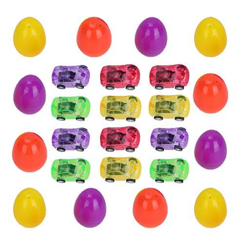 Toyvian 12 Juego de Huevos Sorpresa de Pascua Juguete Pequeño Juguete de Coche de Juguete Creativo de Pascua para Niños (Color Aleatorio)