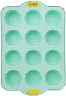 Aschef Moule à Muffin de moulle silicone patisserie (noyau en métal renforcé) 12 tasses moule muffins - antiadhésive sans ...