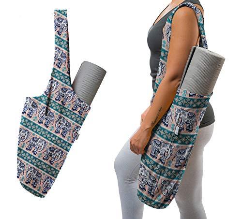 Yogiii Tasche für Yogamatte, YogiiiTote, Tragetasche mit großer Seitentasche und Reißverschlusstasche, passend für die meisten Matten, Lotus Elephant, 25 x 15 Inches - Fits All Mat Sizes
