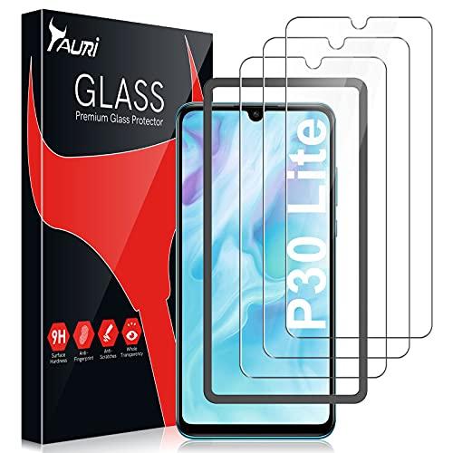 TAURI 3 Pack Protector de Pantalla Huawei P30 Lite / P30 Lite New Edition Cristal Vidrio Templado Dureza 9H Sin Burbujas Funda Compatible Marco de Posicionamiento Kit Fácil de Instalar