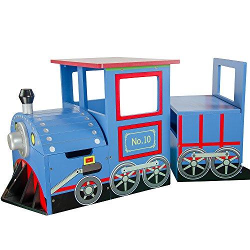 Teamson Kids - Kids Train Vehicles Writing Desk on Wheels and Storage Bench Set