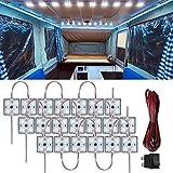 80 LED 12V Kit luci interne per auto con cavo e interruttore Lampada di illuminazione impermeabile Plafoniere per furgoni per camion RV Bus Caravan Barca Camion Transito Camper (20 moduli bianco)