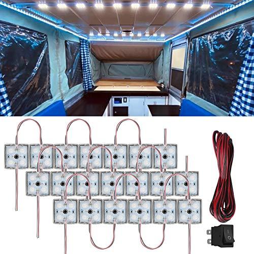 20 x 4 LED 12V Kits de luz interior de coche con cable e interruptor Lámpara de iluminación impermeable Luces de techo de furgoneta para camión RV Bus Caravana Barco Camiones Autocaravana - Blanco