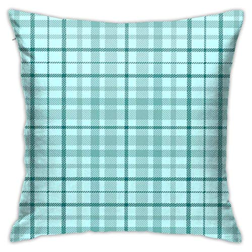 Mesllings Square Throw Pillow Cover, Aqua Plaid Pattern in Aquamarine Green Teal On Pale Turquoise Bedding Border Decorative Pillow Case for Sofa 16 X 16 Inches