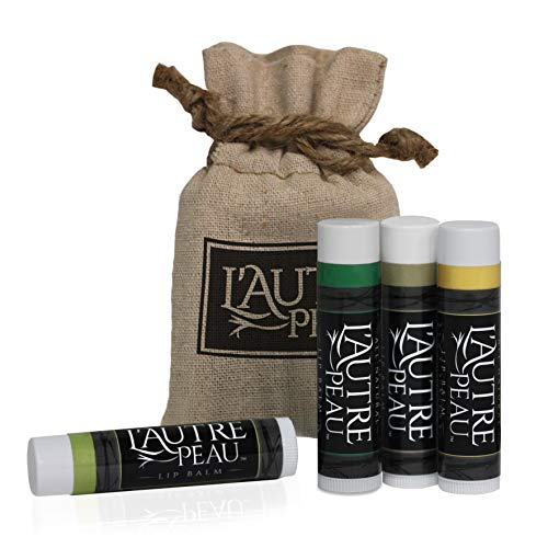All-Natural Luxury Lip Balm by L'AUTRE PEAU  Simplicity Gift Set  Natural Beeswax Shea Butter Aloe & Vitamin-E  Dry Chapped Lips Moisturizer Treatment  Green Tea, Peppermint, Vanilla & Honey (4 Pack)