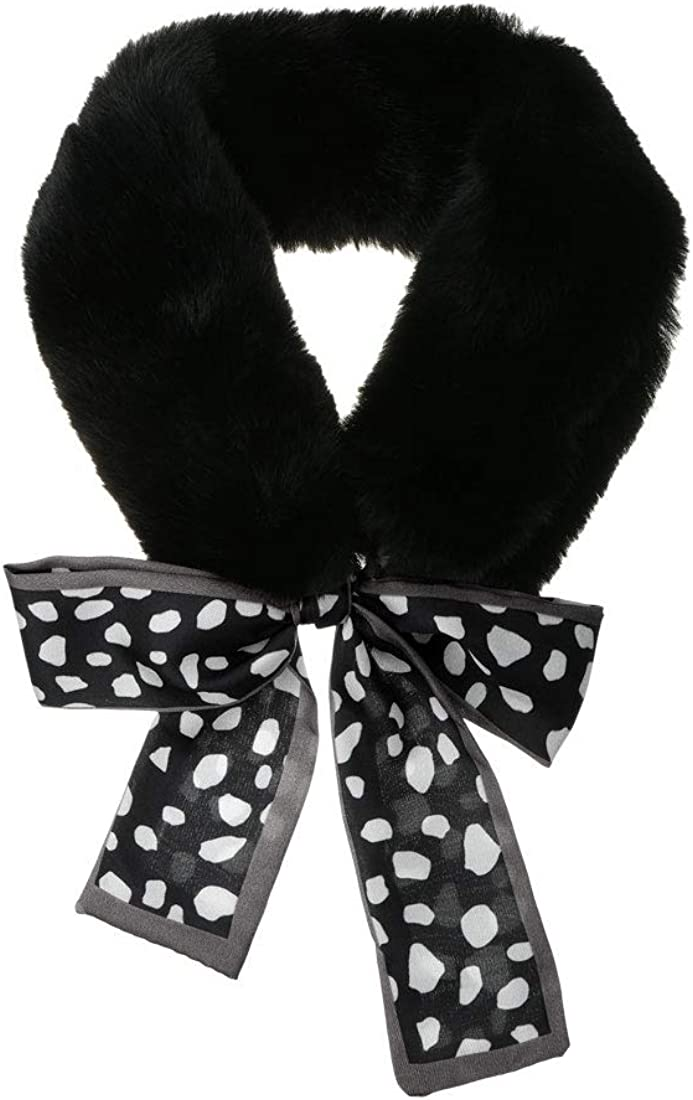 Allegra K Womens Cold Weather Leopard Ribbons Faux Fur Collar Scarf Plush Neck Scarves Winter Warmer