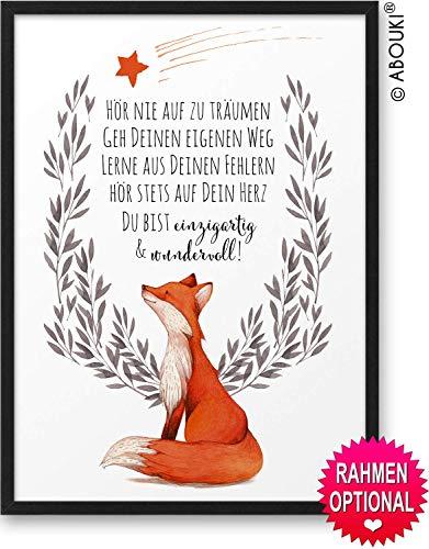 FUCHS Hör nie auf zu träumen ABOUKI® Kunstdruck [ideales Geschenk] - moderne Deko - Design Poster Bild » auf Wunsch mit Namen personalisiert « Geschenkidee Taufe Geburt Geburtstag Holz-Rahmen optional
