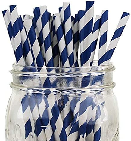 Just Artifacts Premium Biodegradable Disposable Drinking Striped Paper Straws 25pcs Navy product image