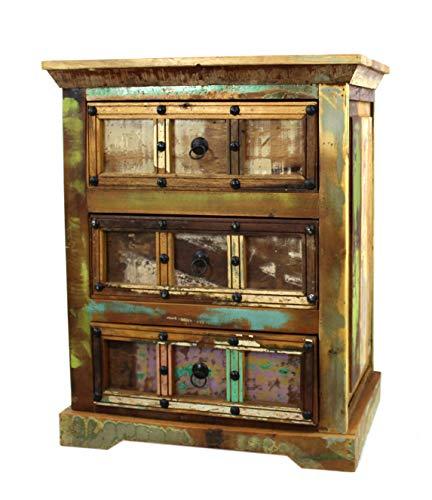 DARO DEKO Recycling Holz Möbel Kommode mit 3 Schubladen 62 x 76cm