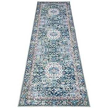 DECOMALL Runner Rug for Hallway Kitchen Washable Long Rugs Green Multi Bohemian Vintage Foldable Carpet for Entryway Entrance 2 6 x9