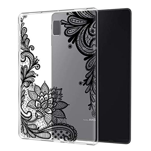 Eouine Samsung Galaxy Tab S4 10.5 Case, Cover Silicone Translucent with Pattern Slim Shockproof Soft Gel TPU Shell Sleeve Skin for Samsung Galaxy Tab S4 10.5' Tablet, Black Mandala